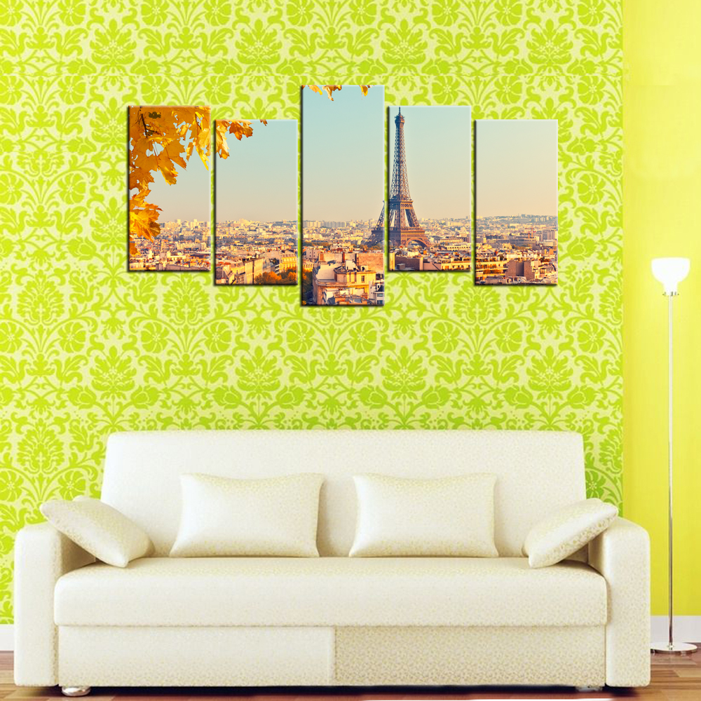 5 Piece Canvas Modern Architecture Buildings Eiffel Tower HD Printed ...