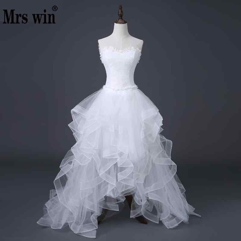 0d4fb883bf8 2017 Лидер продаж спереди Короткие Длинные Сзади недорогое свадебное платье  Китайский кружевное свадебное платье сладкий платье