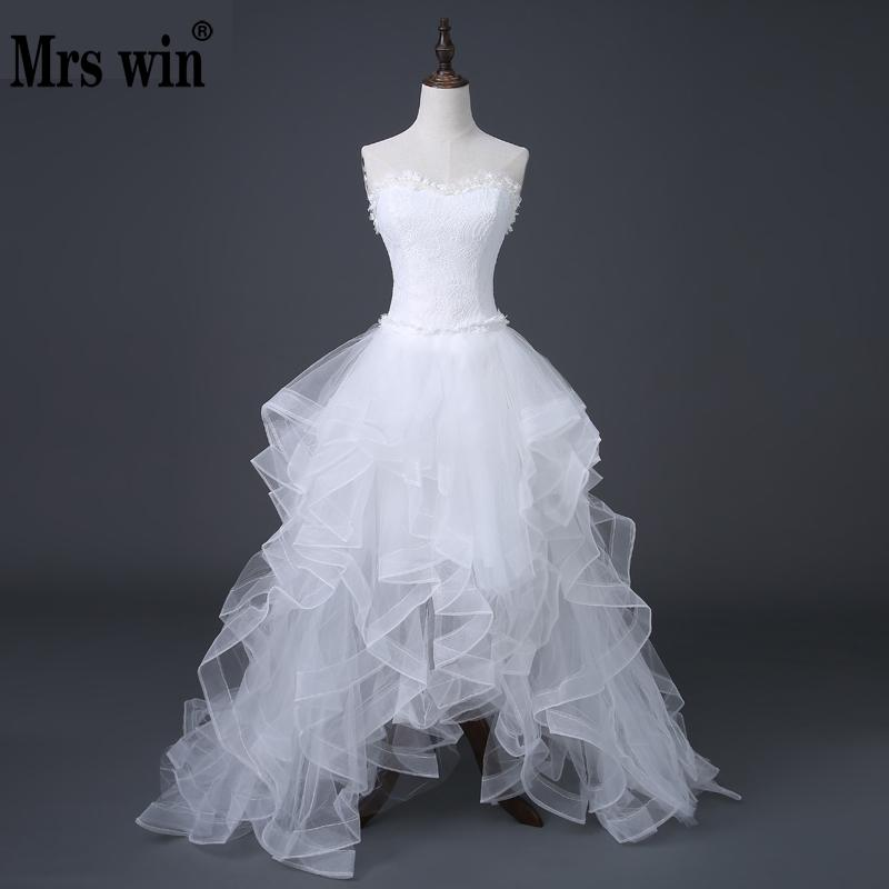 2020 Top Selling Front Short Long Back Wedding Dress Cheap Chinese Lace Wedding Gown Sweet Bride Dress With Tail Under 100 D83