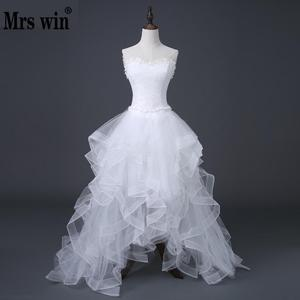 Image 1 - 2020 Top Selling Front Short Long Back Wedding Dress Cheap Chinese Lace Wedding Gown Sweet Bride Dress With Tail Under 100 D83