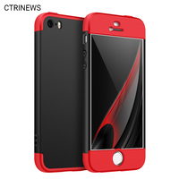 CTRINEWS 360 Degree Full Coverage Case For IPhone 5 SE Matte Back Cover Protective Hard Case
