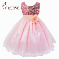 Girls Princess Party Flower Belt Lace Dress Girl Summer Wedding Dress Children Sequined Evening Dresses Baby