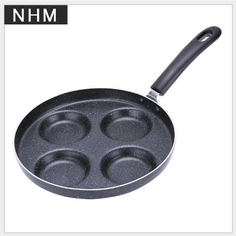 NHM 1 pcs 24CM black and gray non-stick fryer 4-hole fryer multi-function fryer breakfast pan
