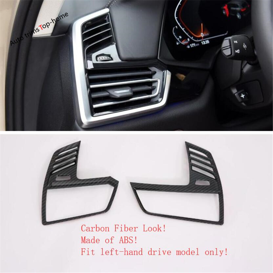 Yimaautotrims Dashboard Air Conditioning AC Outlet Vent Cover Trim Interior Mouldings Fit For BMW X5 G05 2019 Carbon Fiber ABS