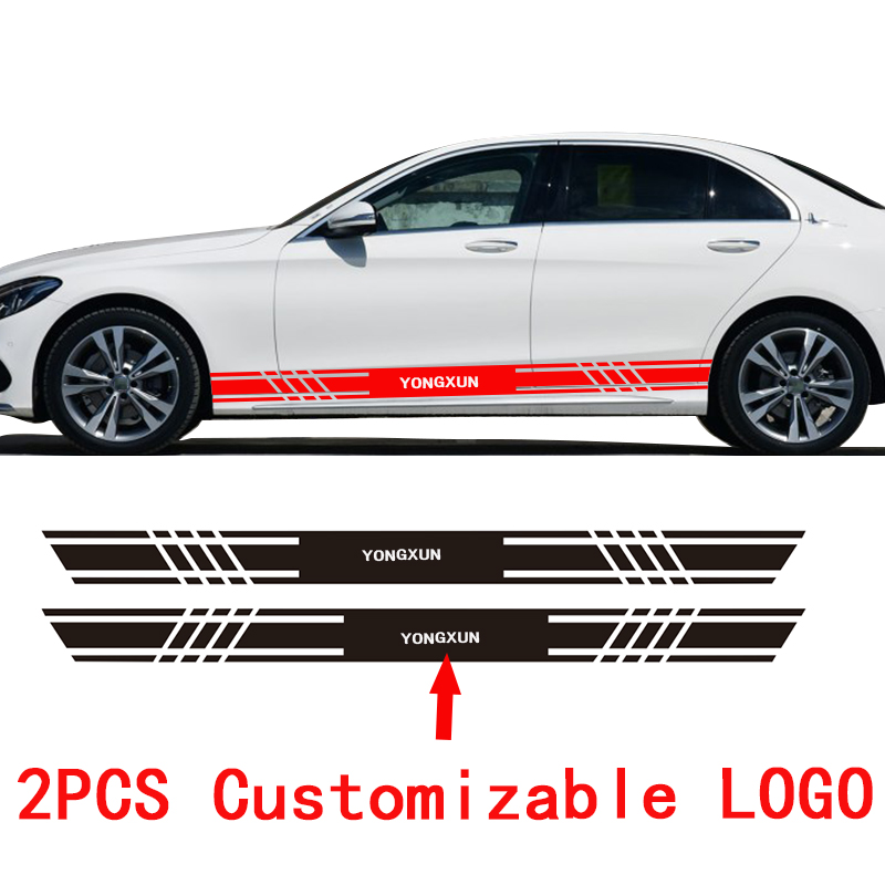 YONGXUN A pair Stickers Decal for Nissan Bmw Mitsubishi peugeot Renault Alfa romeo Stripe body Customized car LOGO styling 2pcs yongxun stickers decal for alfa romeo 147 156 159 166 giulietta stripe body kit door handle guard sill da 432