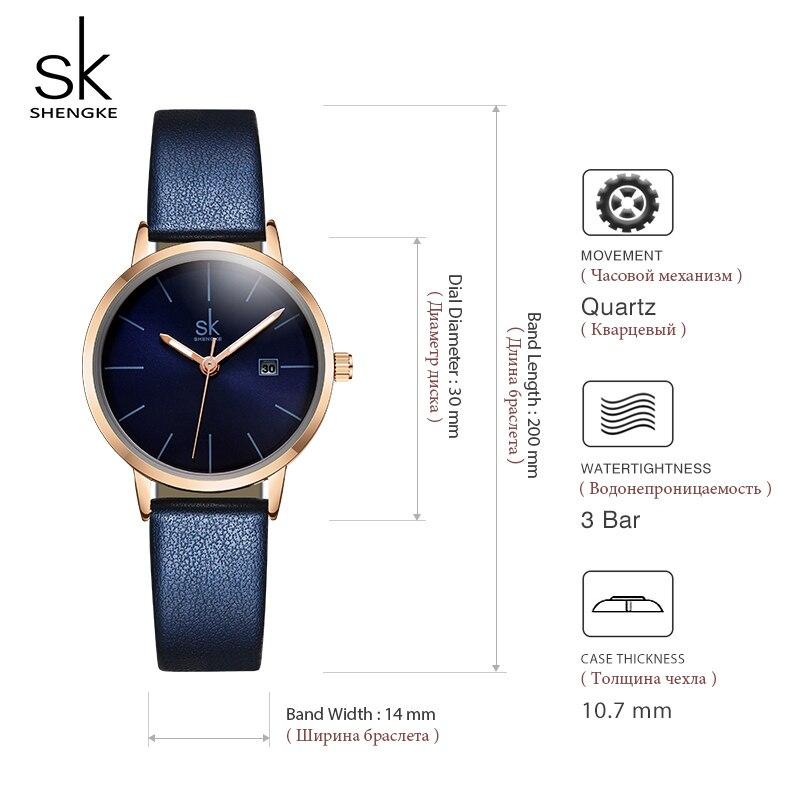 Image 5 - Shengke, модные новые женские часы, яркий кожаный ремешок, наручные часы, Reloj Mujer 2019, женские кварцевые часы, часы Montre Femme #9715-in Женские часы from Ручные часы on AliExpress - 11.11_Double 11_Singles' Day
