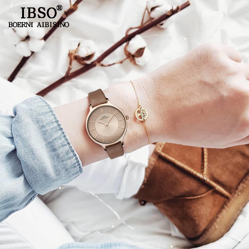IBSO Fashion Women Leather Watches Luxury Quartz Watch Ladies Casual Wristwatch Reloj Mujer 2018 New Women Wrist Watch #6608 comtex ladies watch spring casual yellow leather women wristwatch for girl new fashion quartz calendar watches reloj clock gift