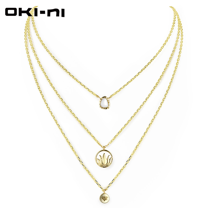 OKI NI New Collection Multi Layer Necklace Three Pendants 925 Sterling Silver Choker Necklaces Jewelry Gift