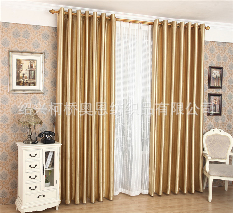 Luxury Golden Blackout Window Curtains For Living Room Bedding Drapes Decorative Cortinas Para Sala
