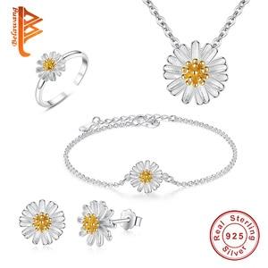 Image 1 - BELAWANG juegos de joyas de 100% Plata de Ley 925 auténtica para mujer y niña, flor de Margarita, esmalte blanco, conjuntos de joyas de compromiso para boda