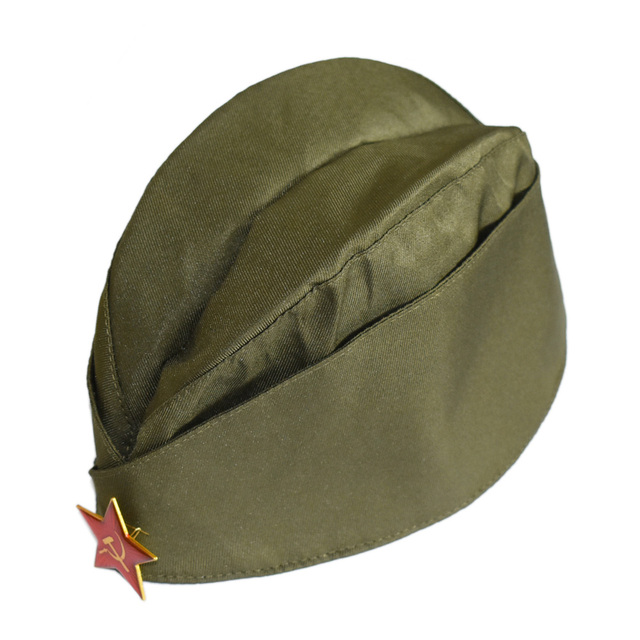 WWII USSR SOVIET MILITARY GARRISON HEADWEAR CAP HAT WITH BADGE-50029
