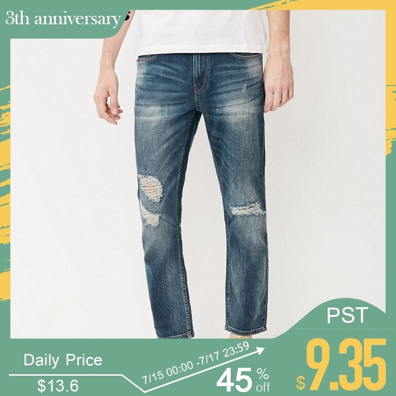 Jack & Jones Brand men   jeans   fasion holes cotton and linen slim long male   jeans   mens ripped   jeans   |217232518
