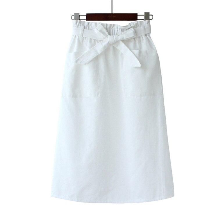 2019 Chic High Waist Women Skirts Bowtie Belt Women Summer Cotton Long  Skirt Pocket Faldas Jupe Femme Women Boho Skirt Saia
