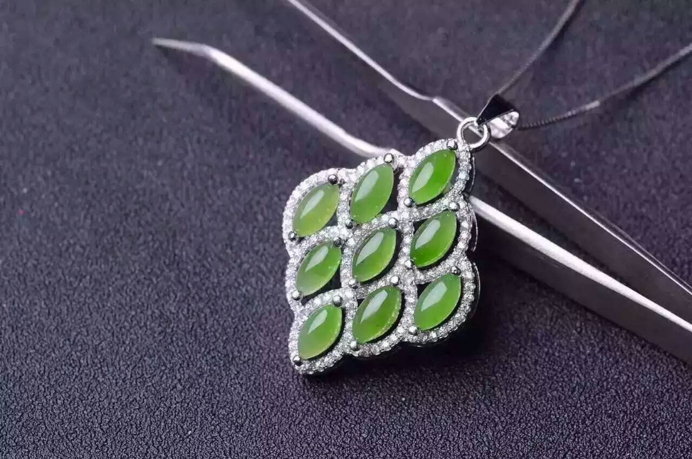 natural green jasper pendant S925 silver Natural gemstone Pendant Necklace trendy Elegant Leaves women party gift jewelry