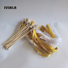 Newest 50Pieces/Lot gold +maize ribbon lace wedding wands with bell for decoration