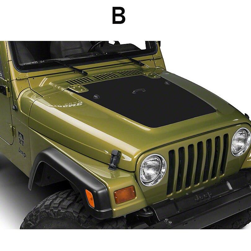 Capot moteur noir mat grande carte étoile crâne autocollant vinyle pour Jeep Wrangler illimité TJ JK - 3
