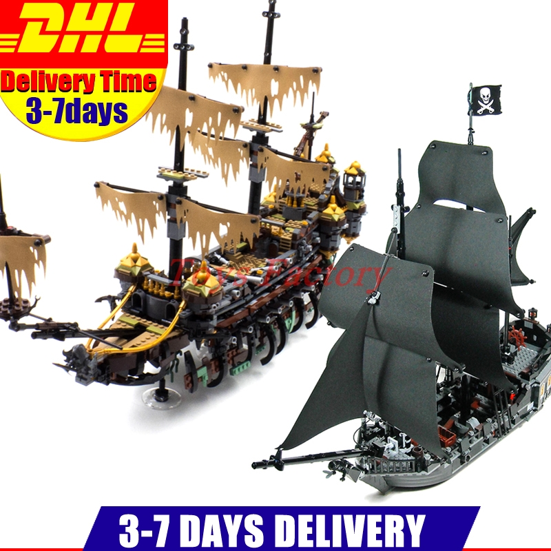 LEPIN 16042 2344PCS Pirate of The Caribbean The Slient Mary Set +16006 The Black Pearl Ship Building Blocks Bricks Toys 71042 new lepin 16009 1151pcs queen anne s revenge pirates of the caribbean building blocks set compatible legoed with 4195 children
