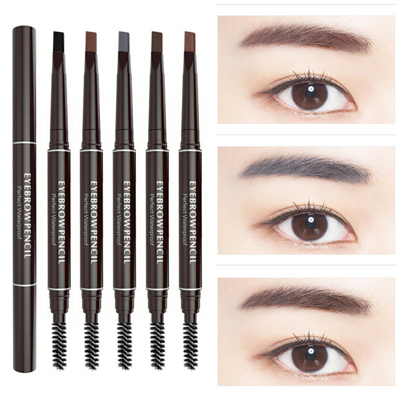 Duplo ended sobrancelha lápis natural à prova dwaterproof água rotativo automático eyeliner sobrancelha lápis com escova beleza cosméticos ferramenta tslm2