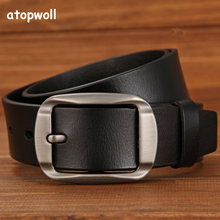 COWATHER Vintage style pin buckle cow genuine leather belts for men high quality Business mens belt cinturones hombre