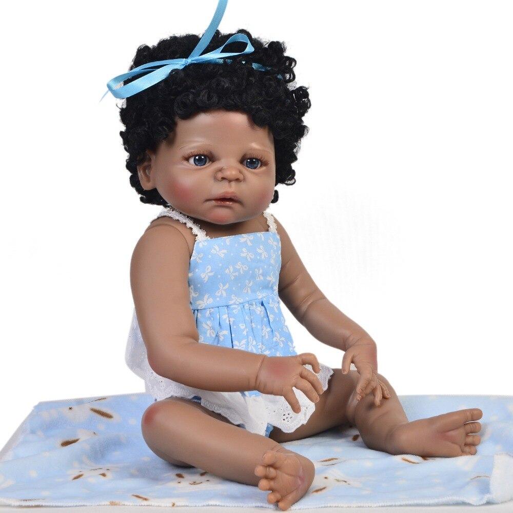23 pouces réaliste bébés Boneca pleine silicone vinyle peau noire 55 cm à la main bain fille poupée élégant bambins collection à vendre