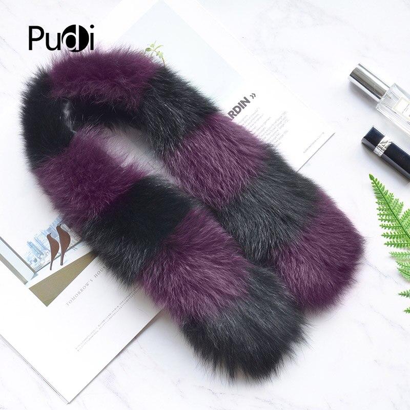 Pudi SF811 woman real fox fur   scarf   2018 new brand girl genuine fox fur   scarves     wrap   shawl patchwork silver fox pink color