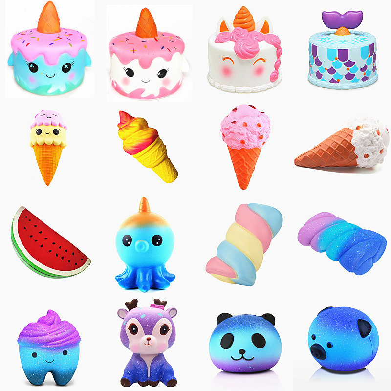 Galaxy Cute Kawaii Cartoon Deer big Squishy cat jumbo Toys Slow Rising Cream Scented Squeeze Toys Novelty Antistress Gift vodool 12v blue led car parking button switch with 150mm cable for toyota camry yaris highlander prius