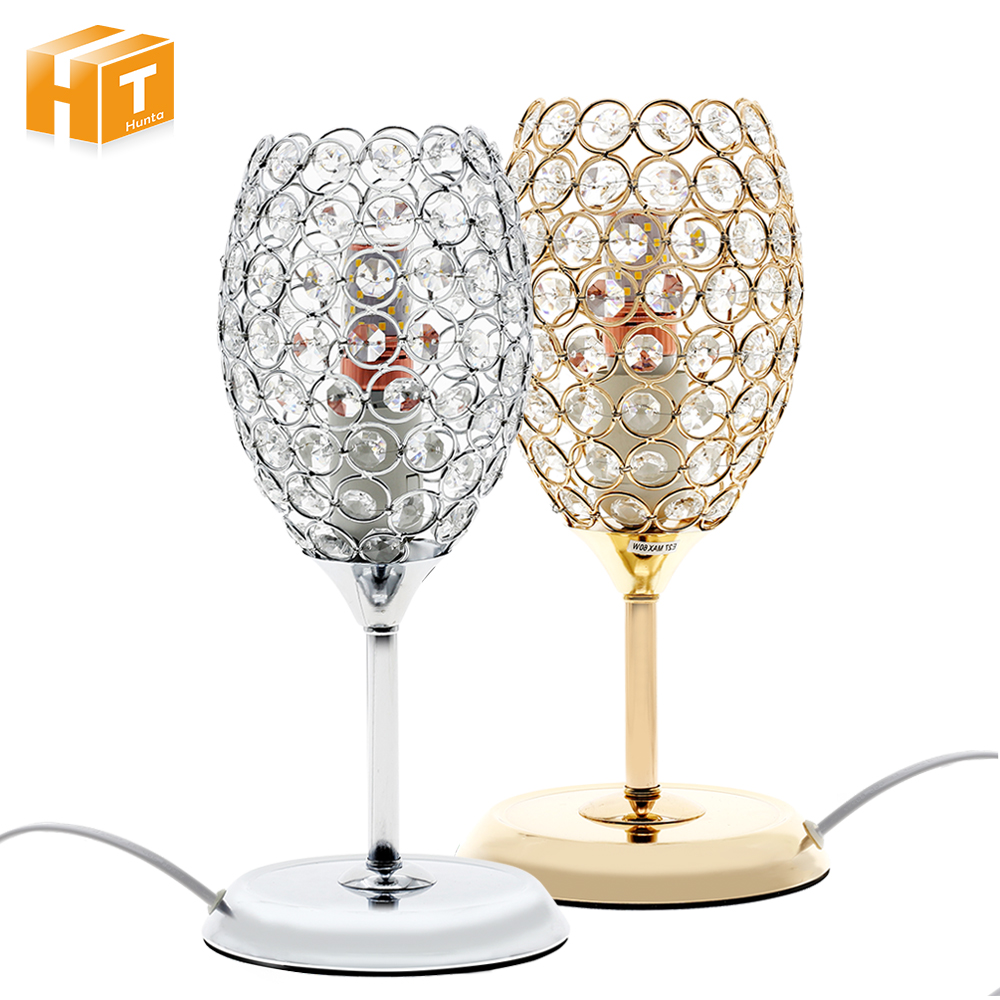 Romantic Luxury Bedside LED Table Lamps Crystal Wine Glass Desk Lamp Living Room Bedroom Decor Lighting