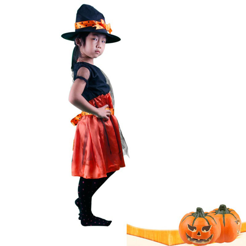 Online Shop Hot Halloween Witch Costume For Girls Dress and hat ...