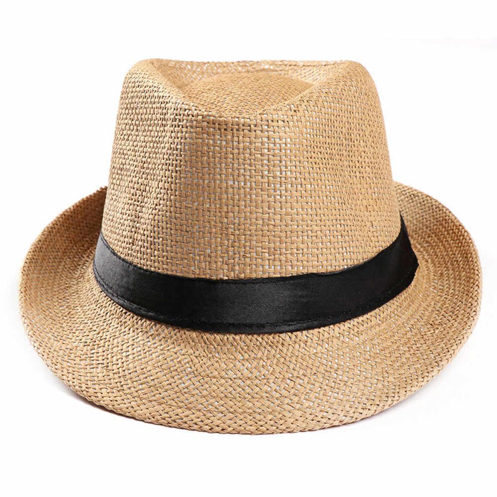 Unisex Trilby Gangster Cap Beach Sun Palha Cinto de Poliéster Banda Chapéu Sunhat Viseira Chapéus Homens Chapéus de Moda Verão das Mulheres 10Jan 17