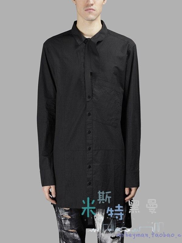 Post S Et ~ Dissymétrique Nouveaux poche Chanteur Hommes 2018 Gd Chemise Longue 5xl Coiffeur Taille Splice Noir Costunes Vêtements Plus La De 77PqFnrAdw