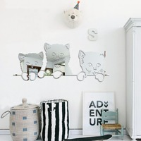 Nette Katze Muster Spiegel Wandaufkleber Kinderzimmer 3D Miroir Wandbild Kunst Hintergrund Dekoration Kitty Acryl Wohnkultur Aufkleber 002