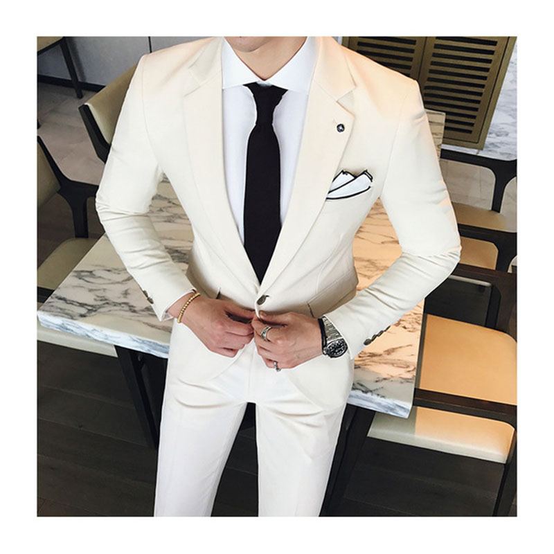 2018 Designs Beige/ivory Groom Wedding Men Suit Slim Fit 2 Piece Tuxedo Prom mens smokin ...