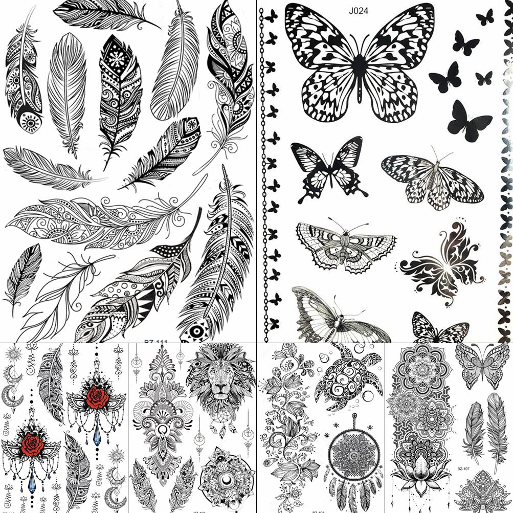 GoldOcean Black Indians Feather Women Wrist Arm Tattoos Stickers Fake Waterproof Butterfly Tattoo Tempaorary Body Ankle Tatto