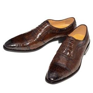 Image 3 - Chaussures Oxfords en cuir véritable pour hommes, souliers de mariage en cuir véritable, couleur café foncé, marque de luxe, bureau, à la mode, à bout pointu