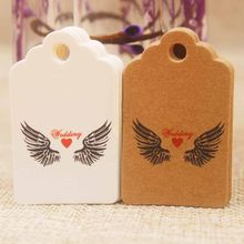 5*3cm Kraft/white Happy valentines days gift hang tag label Angel Wing with red heart design wedding tag candy/cookies tag100pc(China)