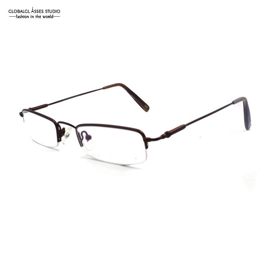 Small Shape Oval Lens Half Rim Metal Frame Men Bronze Business Eyewear Flex Memory Temple Rx Reading Eyeglasses Clean Lens YX25