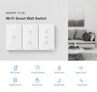 SONOFF T2 США ЕС Великобритания TX базовый умный Wifi сенсорный настенный выключатель света с рамкой умный дом 433 RF/Voice/APP Управление работает с Alexa