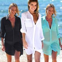 Pareo Beach Tunic Women's Wear Women Summer Bathrobe Outings Tunics Womens Bather 2018 New Shirts Skirt Cloth Pockets Breasted