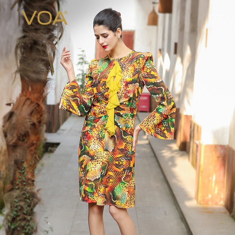 VOA 2017 Autumn Flare Long Sleeve Gold Print A Line Dress Plus Size Heavy Silk Orange Ruffle Slim Midi Women Dresses A7552