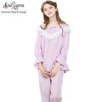 Princess Pajamas Women Sleepwear Female Long Sleeve Woven 100 Cotton Sleepwear Lounge Set Royal Pyjama Lace