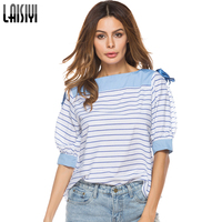 LAISIYI 2018 Summer Short Sleeve T Shirt Women Loose Tops Ribbon Bow Lace Up Split Striped