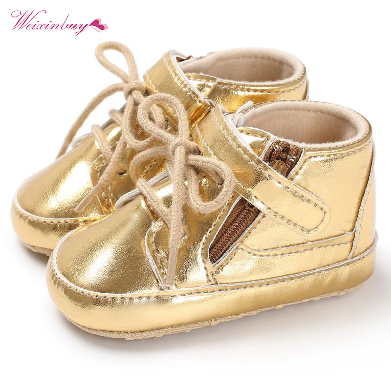 Fashion Spring Baby Shoes Cool Golden PU Leather T-tied Hook &Loop Newborn Boys First Walkers Baby Moccasins Sneakers