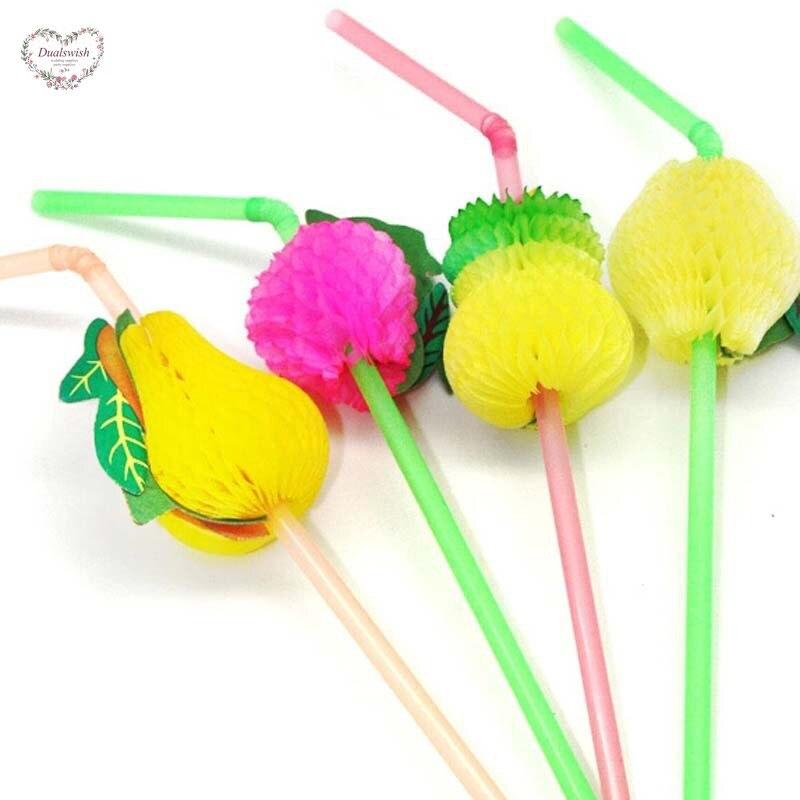 20Pcs Fruit Design Straws Birthday Party Decorations Kids 3D Garland Disposable Straws Wedding/Party/Graduation/Pool Supplies