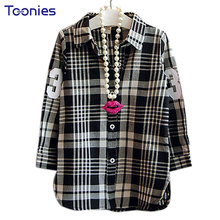 2017 Fashion Children Casual Long Sleeves Plaid Shirt Blouse Baby Girls School Cotton Clothes Kids Casual