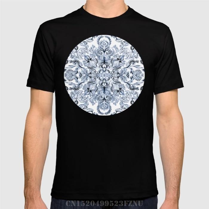 Summer black friday t shirt men Indigo, Navy Blue and White Calligraphy Doodle Pattern Short tees homme Clothing