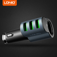 LDNIO Car Charger 3 Ports USB 5V 5 1A Max Mobile Phone Car Charger Adapter For