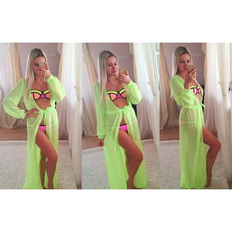 a63296bcce274 Solid color Summer Women Sexy Swimsuit Cover Up Long sleeve Plus Size  Swimwear Bikini Cover Ups dress Long Sexy Beachwear-in Blouses   Shirts  from Women s ...