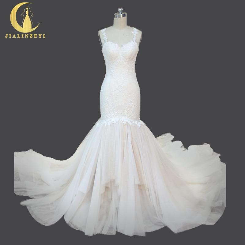 라인 진짜 샘플 레이스 샴페인 섹시한 오픈 다시 레이스 비즈 인어 스윕 코트 빈티지 신부의 웨딩 드레스 웨딩 드레스