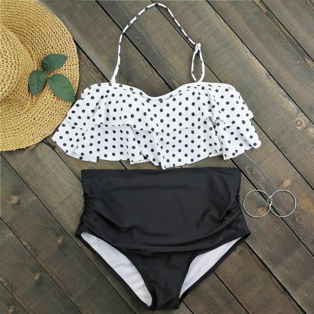 934cdac13cef3 Plus Size Bikini Dot Print Swimwear Women High Waist Swimsuit Ruffle  Biquini Crop Top Bikinis Halter Bathing Suit 3XL Beachwear