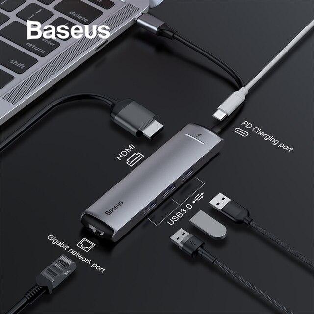 Baseus 6in1 Hub USB Loại C USB 3.0 HDMI RJ45 cho MacBook Pro HUB Chia USB cho Huawei mateBook Máy Tính Phụ Kiện